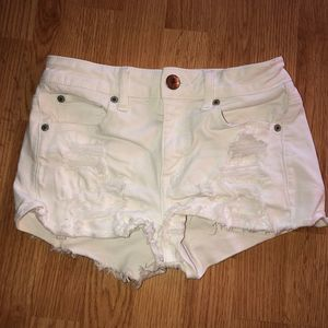 American Eagle White Distressed High Rise Shorts 2